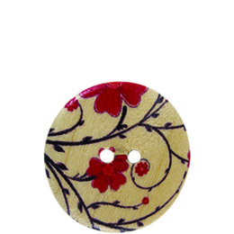 Blossom Flower Wood 20mm 2-Hole Button