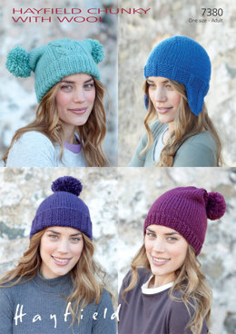 Helmet and Hats in Hayfield Chunky with Wool - 7380