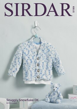 V Neck Cardigan and Teddy Bear in Sirdar Snuggly Snowflake DK - 5199 - Downloadable PDF