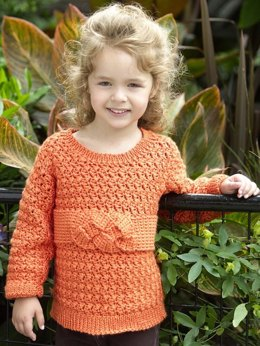 Child's Friendship Knot Sweater in Red Heart Soft Solids - WR1980