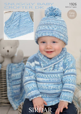 Hat, Sweater and Blanket in Sirdar Snuggly Baby Crofter DK - 1926 - Downloadable PDF