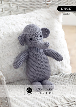 Ellie the Crochet Elephant Toy in DY Choice Cotton Fresh DK - DYP317