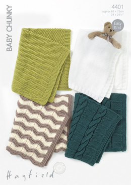 Knitted Blankets in Hayfield Baby Chunky - 4401 - Downloadable PDF