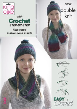 Riot Scarf, Hat & Cowl Set in King Cole Riot DK - 5057 - Downloadable PDF