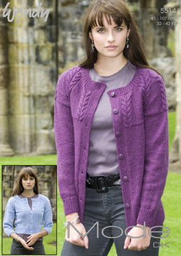 Cabled Raglan Cardigan in Wendy Mode DK - 5514