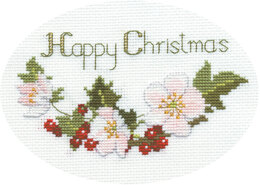 Derwentwater Designs Christmas Roses Greeting Card Cross Stitch Kit - 18cm x 5cm