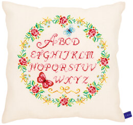 Vervaco Alphabet & Roses Cushion Cross Stitch Kit - Multi