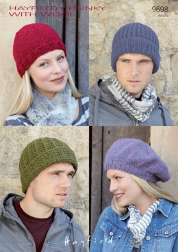 Hats in Hayfield Chunky with Wool - 9698 - Downloadable PDF