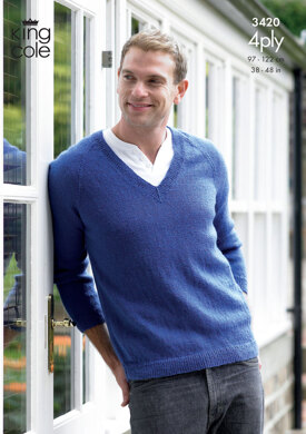 Sweater & Cardigan in King Cole 4 Ply - 3420