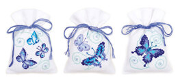 Vervaco Blue Butterflies Potpourri Bags - Pack of 3 Cross Stitch Kit - 8cm x 12cm
