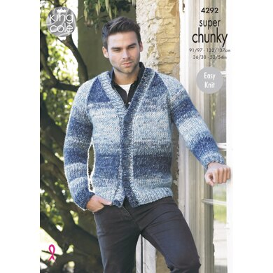 V Neck Sweater & Cardigan in King Cole Super Chunky - 4292 - Downloadable PDF