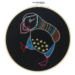 Hawthorn Handmade Black Puffin Embroidery Kit - 7in