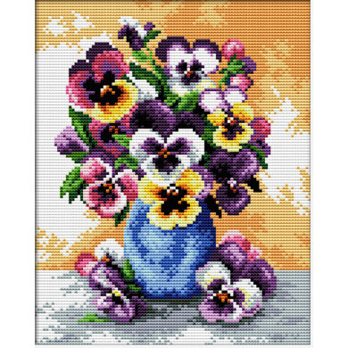 Needleart World Vase of Pansies No-Count Cross Stitch Kit