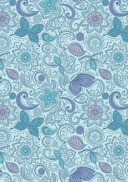 Lewis & Irene Sew Mindful Floral Flow on Blissful Blue Cut to Length