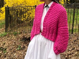 Cropped Fisherman Cardigan in Loopy Mango Big Cotton - Downloadable PDF