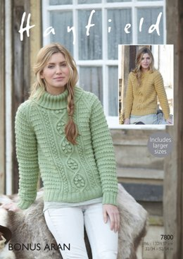 Round Neck and Stand Up Neck Sweaters in Hayfield Bonus Aran - 7800