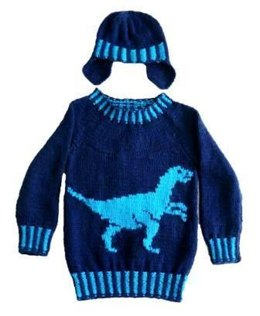 Dinosaur Sweater and Hat - Velociraptor
