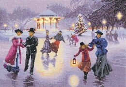 Heritage Christmas Skaters Cross Stitch Kit - 31cm x 22cm