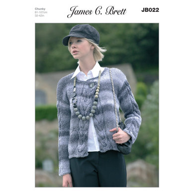 Cardigan in James C. Brett Marble Chunky - JB022
