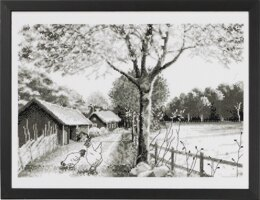 Permin Country Scene Cross Stitch Kit - 40cm x 30cm