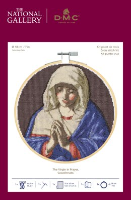 DMC The National Gallery - The Virgin in Prayer Cross Stitch Kit (with 7in hoop)