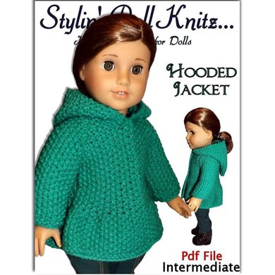 """Hooded Jacket for 18"""" dolls including American Girl Doll (knit)"""