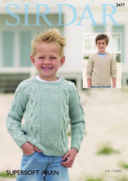 Round Neck and V Neck Sweaters in Sirdar Supersoft Aran - 2477 - Leaflet