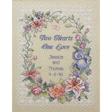 Dimensions Two Hearts Wedding Record Stamped Cross Stitch Kit - 28cm x 35cm