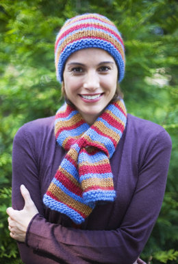 Midday Hat And Scarf Set in Lion Brand Alpine Wool - 90305AD