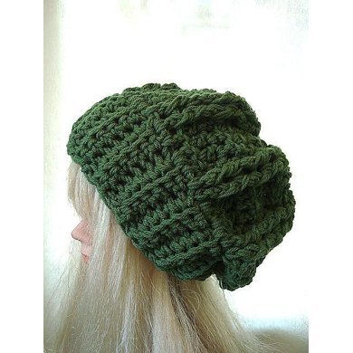 Olivia Cable Slouchie Hat | by SweetPotatoPatterns