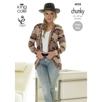 Cardigans in King Cole Big Value Multi Chunky - 4028