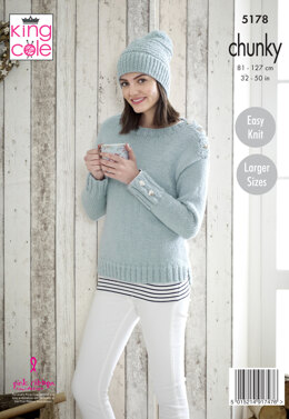 Sweaters & Hat in King Cole Timeless Chunky - 5178 - Leaflet
