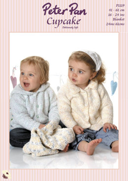 Jacket with Hood or Collar & Crochet Pram Cover in Peter Pan Cupcake