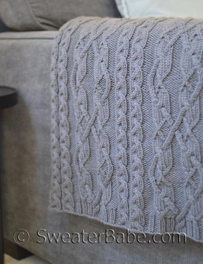 204 Threaded Cables Throw Knitting Pattern By Sweaterbabe Com