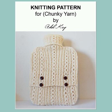 Juliet Hot Water Bottle Cover Cosy Case Chunky Yarn Knitting Pattern by Adel Kay