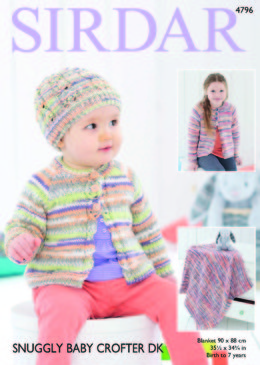 Cardigan, Hat and Blanket in Sirdar Snuggly Baby Crofter DK - 4796