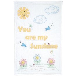 Jack Dempsey Stamped White Quilt Crib Top - You Are My Sunshine - 40in x 60in