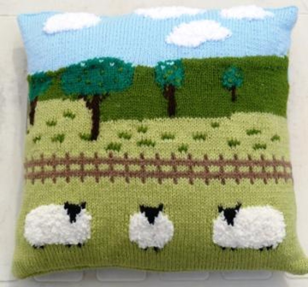 Mohair Cushion Knitting Pattern : Sheep in the countryside cushion Knitting pattern by iKnitDesigns Knitting ...