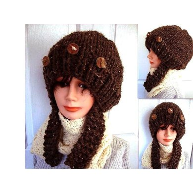 510 KNITTED CHUNKY HAT WITH LONG EAR FLAPS