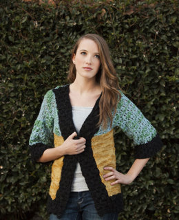 ColorBlock Cardi in Universal Yarn Bamboo Bloom