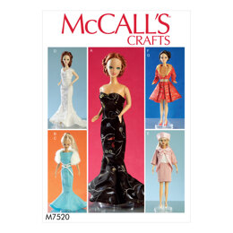 McCall's Gowns Stole Dresses Coats and Hat for 11« Doll M7520 - Paper Pattern Size One Size Only