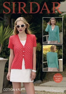 Short and Long Sleeved Cardigans in Sirdar Cotton 4 Ply - 7911  - PDF