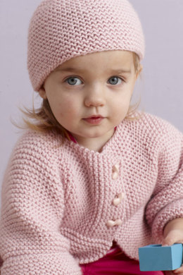Strawberry Pink Sideways Cardigan and Hat in Lion Brand Superwash Merino Cashmere - L0043
