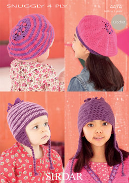 Berets and Helmets in Sirdar Snuggly 4 Ply 50g - 4474 - Downloadable PDF