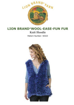 Knit Hoodie in Lion Brand Wool-Ease and Fun Fur - 50323 - Downloadable PDF