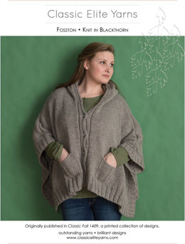 Fosston Poncho in Classic Elite Yarns Mountaintop Blackthorn - Downloadable PDF