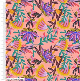 Craft Cotton Company Tropical Leopard - Flowers