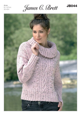 Sweater in James C. Brett Rustic with Wool Aran - JB044