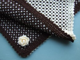 Two Colour Reversible Baby Blanket & Flower Trim