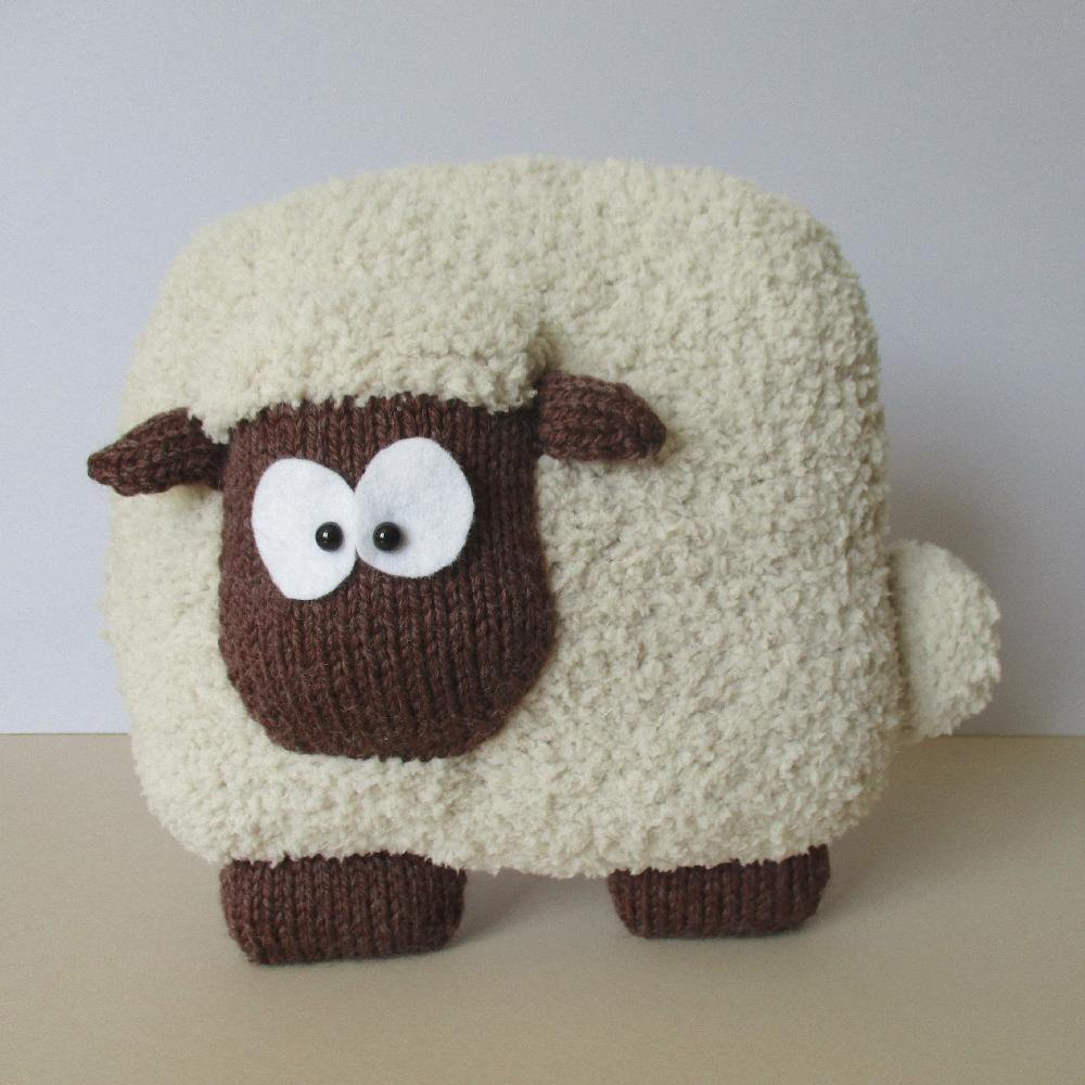 Knitted Slippers Free Patterns : Sheep Cushion Knitting pattern by Amanda Berry Knitting Patterns LoveKnit...